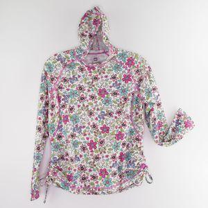 REI Girls Hooded Shirt Flowers Butterflies Size XL